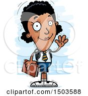Clipart Of A Waving Black Female College Student Royalty Free Vector Illustration