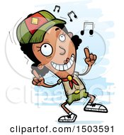 Clipart Of A Black Female Scout Doing A Happy Dance Royalty Free Vector Illustration