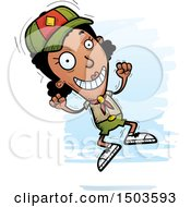 Clipart Of A Jumping Black Female Scout Royalty Free Vector Illustration