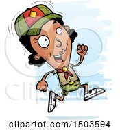 Clipart Of A Running Black Female Scout Royalty Free Vector Illustration