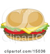Hamburger With Lettuce Tomato And Cheddar Cheese On A Bun With Sesame Seeds Clipart Illustration
