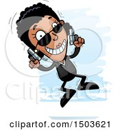 Clipart Of A Jumping African American Woman Secret Service Agent Royalty Free Vector Illustration