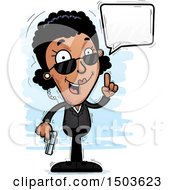 Clipart Of A Talking African American Woman Secret Service Agent Royalty Free Vector Illustration