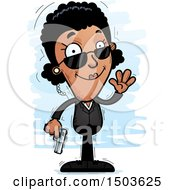 Clipart Of A Waving African American Woman Secret Service Agent Royalty Free Vector Illustration