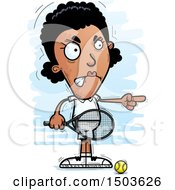 Clipart Of A Mad Pointing African American Woman Tennis Player Royalty Free Vector Illustration