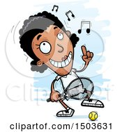 Clipart Of A Happy Dancing African American Woman Tennis Player Royalty Free Vector Illustration