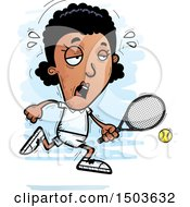Clipart Of A Tired African American Woman Tennis Player Royalty Free Vector Illustration
