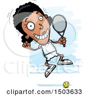 Clipart Of A Jumping African American Woman Tennis Player Royalty Free Vector Illustration
