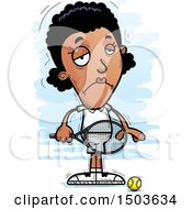 Clipart Of A Sad African American Woman Tennis Player Royalty Free Vector Illustration