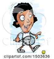 Clipart Of A Walking African American Woman Tennis Player Royalty Free Vector Illustration