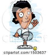 Clipart Of A Waving African American Woman Tennis Player Royalty Free Vector Illustration by Cory Thoman