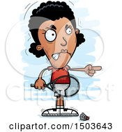 Clipart Of A Mad Pointing African American Woman Badminton Player Royalty Free Vector Illustration