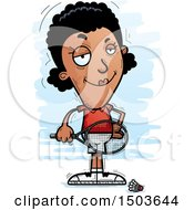 Clipart Of A Confident African American Woman Badminton Player Royalty Free Vector Illustration