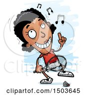 Clipart Of A Happy Dancing African American Woman Badminton Player Royalty Free Vector Illustration