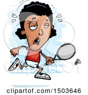 Clipart Of A Tired African American Woman Badminton Player Royalty Free Vector Illustration