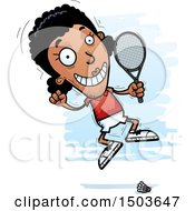 Clipart Of A Jumping African American Woman Badminton Player Royalty Free Vector Illustration