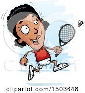 Clipart Of A Running African American Woman Badminton Player Royalty Free Vector Illustration