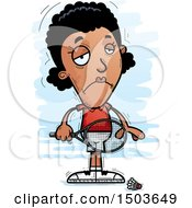 Clipart Of A Sad African American Woman Badminton Player Royalty Free Vector Illustration
