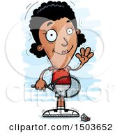 Clipart Of A Waving African American Woman Badminton Player Royalty Free Vector Illustration