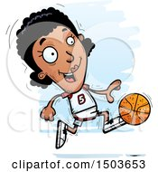 Clipart Of A Running Black Female Basketball Player Royalty Free Vector Illustration by Cory Thoman