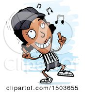 Clipart Of A Black Female Referee Doing A Happy Dance Royalty Free Vector Illustration by Cory Thoman