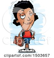 Clipart Of A Confident Black Female Community College Student Royalty Free Vector Illustration