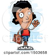Clipart Of A Waving Black Female Community College Student Royalty Free Vector Illustration by Cory Thoman