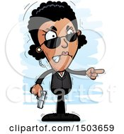 Clipart Of A Mad Pointing African American Woman Secret Service Agent Royalty Free Vector Illustration by Cory Thoman