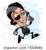 Clipart Of A Running African American Woman Secret Service Agent Royalty Free Vector Illustration
