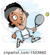 Clipart Of A Running African American Woman Tennis Player Royalty Free Vector Illustration by Cory Thoman