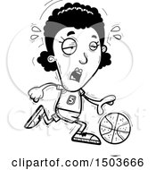 Clipart Of A Black And White Tired Running Black Female Basketball Player Royalty Free Vector Illustration