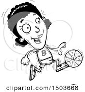 Clipart Of A Black And White Running Black Female Basketball Player Royalty Free Vector Illustration