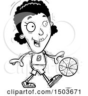 Clipart Of A Black And White Dribbling Black Female Basketball Player Royalty Free Vector Illustration