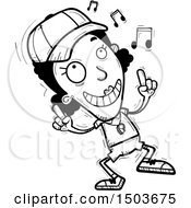 Clipart Of A Black And White Black Female Coach Doing A Happy Dance Royalty Free Vector Illustration