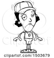 Clipart Of A Black And White Sad Black Female Coach Royalty Free Vector Illustration