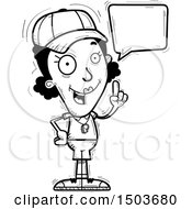 Clipart Of A Black And White Talking Black Female Coach Royalty Free Vector Illustration
