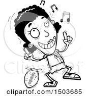 Clipart Of A Black And White Black Female Football Player Doing A Happy Dance Royalty Free Vector Illustration