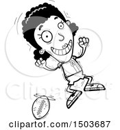 Clipart Of A Black And White Jumping Black Female Football Player Royalty Free Vector Illustration