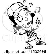 Clipart Of A Black And White Black Female Referee Doing A Happy Dance Royalty Free Vector Illustration