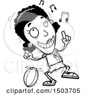 Clipart Of A Black And White Black Female Rugby Player Doing A Happy Dance Royalty Free Vector Illustration