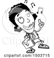 Clipart Of A Black And White Black Female College Student Doing A Happy Dance Royalty Free Vector Illustration