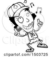 Clipart Of A Black And White Black Female Scout Doing A Happy Dance Royalty Free Vector Illustration