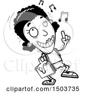 Clipart Of A Black And White Black Female Community College Student Doing A Happy Dance Royalty Free Vector Illustration