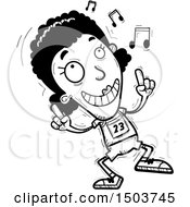 Clipart Of A Black And White Black Female Track And Field Athlete Doing A Happy Dance Royalty Free Vector Illustration