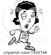 Clipart Of A Black And White Tired Running Black Female Track And Field Athlete Royalty Free Vector Illustration