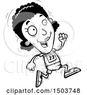 Clipart Of A Black And White Running Black Female Track And Field Athlete Royalty Free Vector Illustration