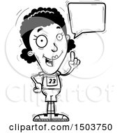 Clipart Of A Black And White Talking Black Female Track And Field Athlete Royalty Free Vector Illustration