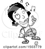 Clipart Of A Black And White Happy Dancing African American Woman Tennis Player Royalty Free Vector Illustration