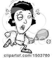 Clipart Of A Black And White Tired African American Woman Tennis Player Royalty Free Vector Illustration