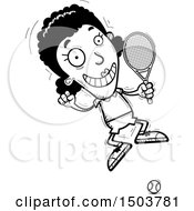 Clipart Of A Black And White Jumping African American Woman Tennis Player Royalty Free Vector Illustration